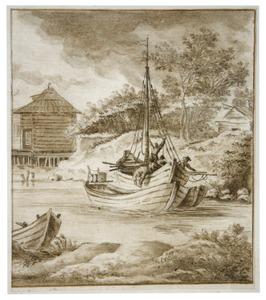 Rivierlandschap met bootjes