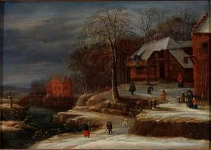 Winterlandschap met boerderij en herberg aan een rivier