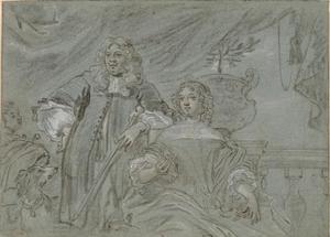 Portretstudie van een echtpaar, mogelijk Jan van Amstel (?-1669) en Maria van Boxhoorn (1642-1726)