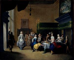 Etend en dansend gezelschap in een interieur