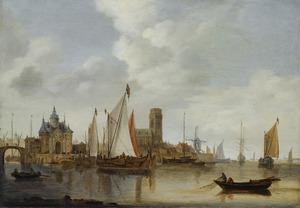 Gezicht op Dordrecht met aangemeerde schepen