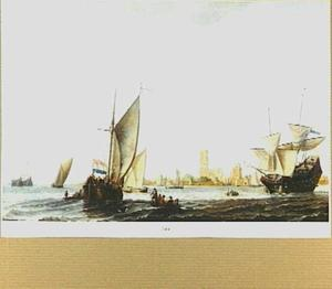 Zeilende schepen op de Merwede, Dordrecht aan de horizon