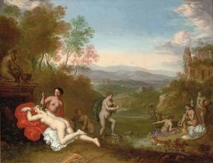 Italianiserend heuvellandschap met Diana en haar nimfen