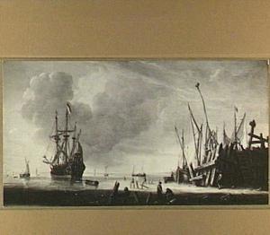 Driemaster en visserboten voor een havenhoofd