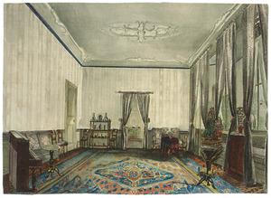Het interieur van een kamer in Huis Ypenburg