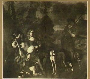Portret van Abraham Ortt (1650-1691, met twee jagers