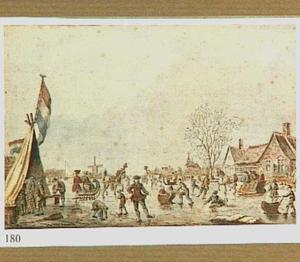 Figuren op het ijs bij een koek-en-zopie met de Hollandse vlag