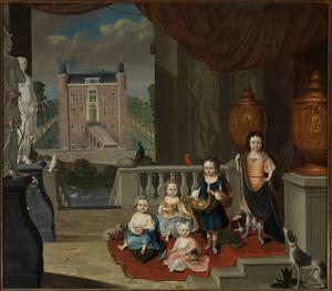 Familieportret van vijf kinderen van Johan Hendrik Strick van Linschoten (1687-1765) en Johanna Antonia Bernard (1706-1740), met in de achtergrond het Huis te Linschoten