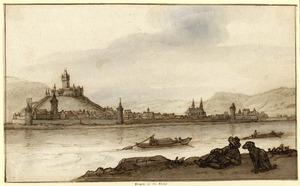 Blik op Bingen aan de Rijn, gelegen aan de overkant van rivier