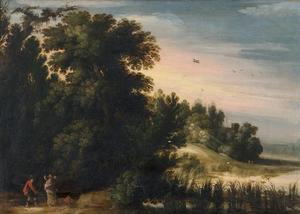 Bebost landschap met Tobias en de engel