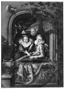 Elegant paar in een venster met achter hen een man met een wijnkan
