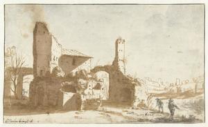 Kolfspelers bij een antike ruïne