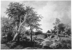 Een boer met zijn vee in een vlakke vallei met een stroompje