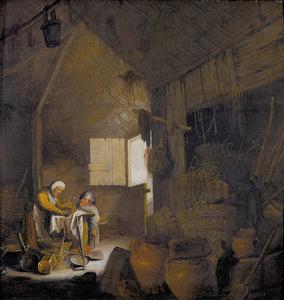 Boereninterieur met een boerin die koperen potten schuurt