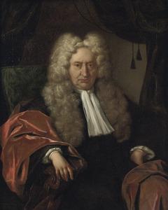 Portret van een oude man met een allonge-pruik en een geknoopte halsdoek