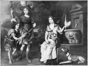 Groepsportret van twee jongens en een meisje in fantasiekostuum