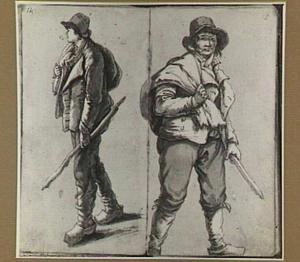 Twee studies van een staande man met stok en pijp