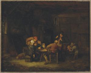Boerengezellschap drinkend en converserend in een interieur