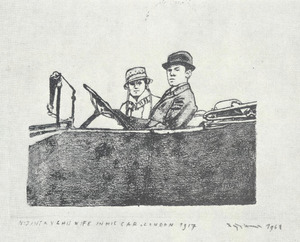 Nijinksy & his wife in his car, London 1917