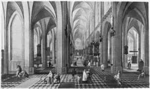Interieur van de Onze Lieve Vrouwekathedraal van Antwerpen met een dienst