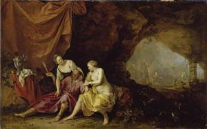 Lots dochters die hun vader dronken maken; op de achtergrond de ondergang van Sodom en Gomorra  (Genesis 19:33-34)