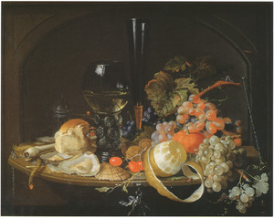Stilleven met oesters, een roemer en vruchten voor een nis