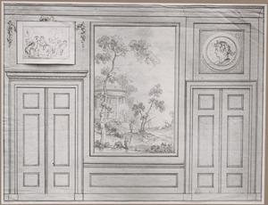 Achterwand met deuren ter weerszijden van een behangselvlak met een zuidelijk landschap met offerplaats