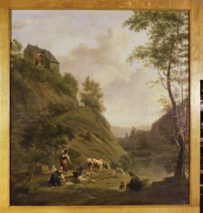 Berglandschap met pastorale scène