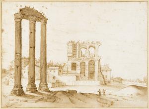 Rome, Forum Romanum met op de voorgrond de ruïne van de tempel van Castor en Pollux