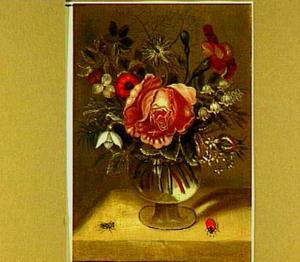 Boeketje met roze roos in glazen vaas, met vlieg en lieveheersbeestje ernaast
