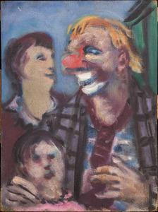 Moeder en kind ontmoeten een clown in het circus