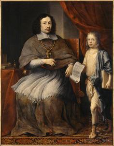 Ferdinand van Fürstenberg  (1626-1683) , bisschop van Padeborn, ontvangt het theologisch proefschrift van Hendrik Daemen  (1655-1688)