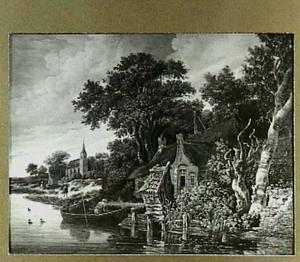 Rivieroever met enkele huizen en een kerk; op de voorgrond een visser in een roeiboot