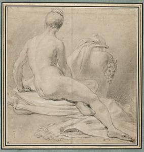 Studie van een naakte vrouw, op de rug gezien