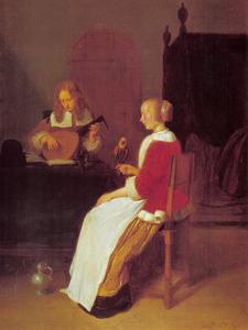 Vrouw met een papegaai en een luitspelende man