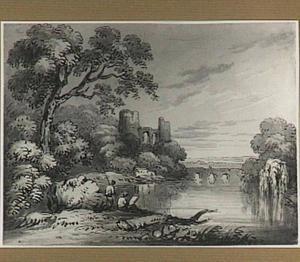 Rivierlandschp met ruïne, stenen brug en tekenaar