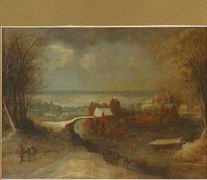 Winterlandschap met gezicht op een stad; links op de voorgrond de vlucht naar Egypte