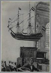 Scheepsmodel in de Grote Kerk van Blokzijl