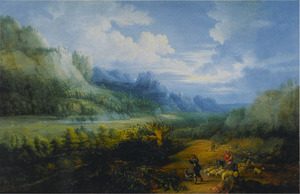 Bosachtig heuvellandschap met herders en hun kudde