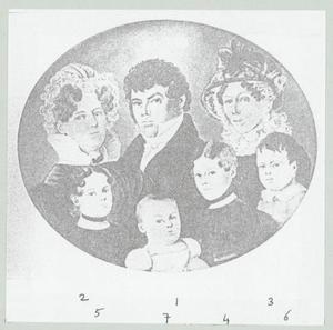 Portret van Theodorus Joseph Azon Jacometti (1789-1856) en zijn familie