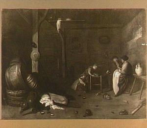 Boeren interieur met een gezin