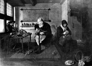 Schoenmaker en vrouw die vruchten schilt