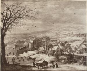 Winterlandschap met gezicht op een dorp