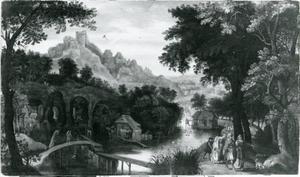 Landschap met de verstoting van Hagar en Ishmael (Genesis 21: 9-21)