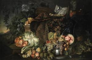 Stilleven met groenten, vruchten, muzieksintrumenten en een oosters kleed