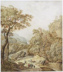 Berglandschap met herders en vee op een pad langs een beek