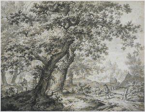 Boslandschap met schaapherder en hooiwagen