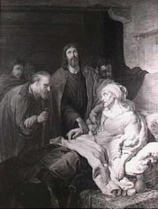 Christus geneest de schoonmoeder van Petrus