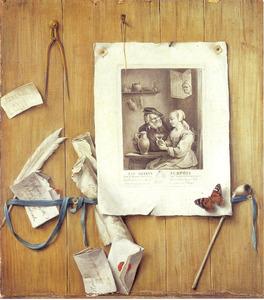 Trompe l'oeil met prent 'Les Amants Surpris' van David Teniers II