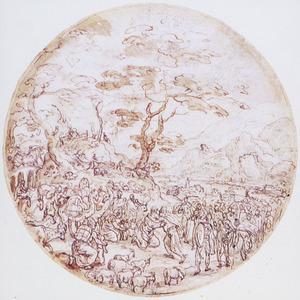 De verzoening van Jacob en Esau (Genesis 33: 3-4)